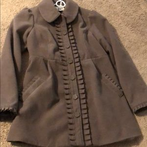 Super cute pea coat with ruffle trim